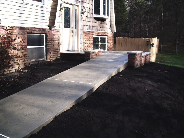 concrete sidewalk and patio