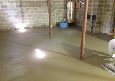 Basement concrete flooring & epoxy overlays
