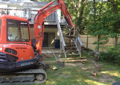 Backyard concrete patio Installation