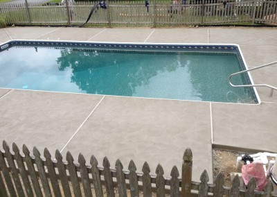 New pool decking installation to replace worn surround