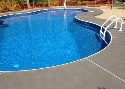 Pool patio decking made of concrete