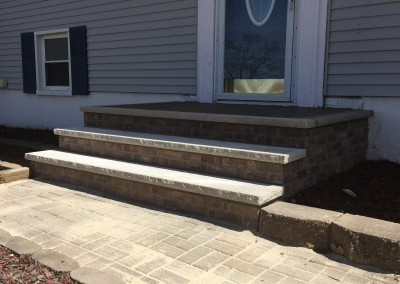 New brick steps and railings